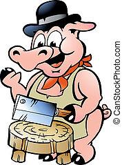 açougueiro, porca
