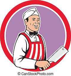 açougueiro, segurando, cleaver carne, círculo, caricatura