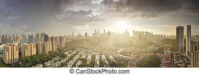 aéreo, área, cingapura, skyline, tiong, amanhecer, bahru