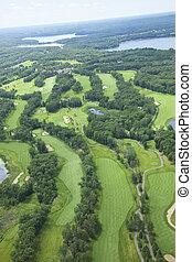 aéreo, área, mostrando, buracos, lagos, curso, golfe, vários, vista