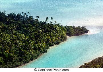 aéreo, aitutaki, laguna, islas de cocinero, vista