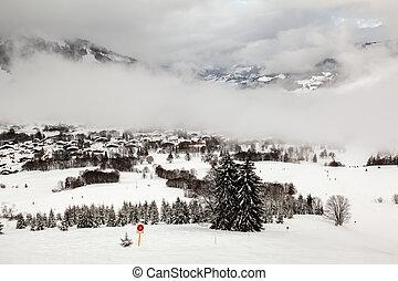 aéreo, alpes, frança francesa, recurso, megeve, esqui, vista