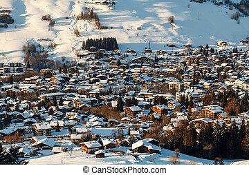 aéreo, alpes, francia francesa, recurso, megeve, esquí,...