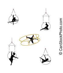 aéreo, anel, dançarinos
