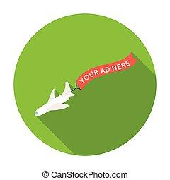 aéreo, anunciando, ícone, em, apartamento, estilo, isolado, branco, experiência., anunciando, símbolo, estoque, vetorial, illustration.