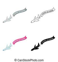 aéreo, anunciando, ícone, em, caricatura, estilo, isolado, branco, experiência., anunciando, símbolo, estoque, vetorial, illustration.
