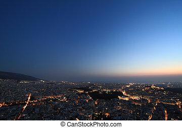 aéreo, atenas, grecia, cityscape, noche, vista