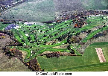 aéreo, campo golfe