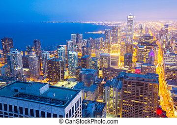 aéreo, chicago, ciudad, anochecer