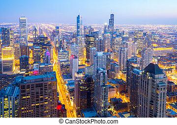 aéreo, chicago, ciudad, céntrico