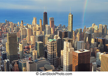 aéreo, chicago, vista