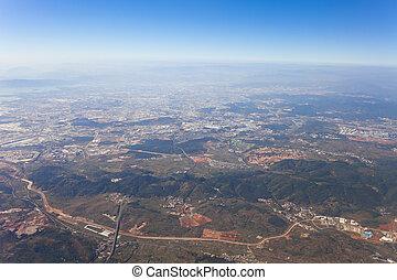 aéreo, china., kunming, vista