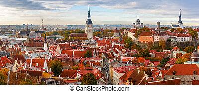 aéreo, cidade, estónia, panorama, tallinn, antigas