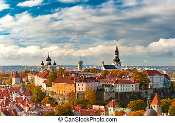 aéreo, cidade, estónia, tallinn, antigas, vista