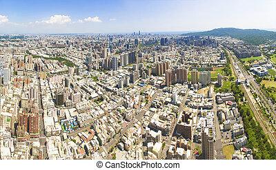 aéreo, city., taiwan., kaohsiung, vista