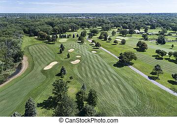 aéreo, curso, golfe, vista