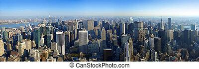 aéreo, encima, panorámico, york, nuevo, manhattan, vista
