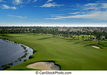 aéreo, golfe, flórida, flyover, curso