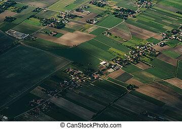 aéreo, granjas, village., río, agricultura, paisaje