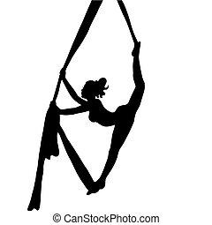 aéreo, gymnastics., gymnastics., girl., athlete.
