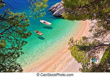 aéreo, hiden, brela, mar, esmeralda, barcos, playa, vista