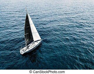 aéreo, iate veleiro, profundo, pretas, sea., navio, velas,...