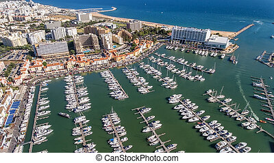 aéreo, iates, baía, marina, vilamoura., luxo, vista