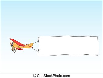 aéreo, illustration., sky., banner., isolado, ar, ads., avião, advertising., bandeira, caricatura, towing.