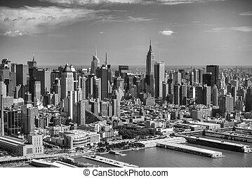 aéreo, infierno, área, york, nuevo, city., manhattan, vista,...
