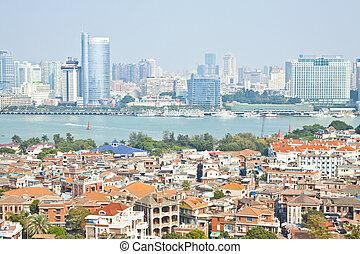 aéreo, isla, gulang-yu, china, xiamen, vista