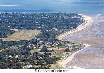 aéreo, isla, schleswig-holstein, parque nacional, foehr, alemania, mar, foto, wadden