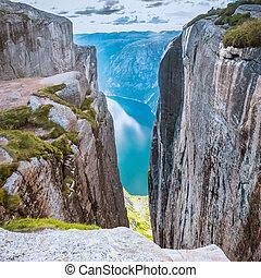 aéreo, kjeragbolten, vista, lysefjorden, noruega