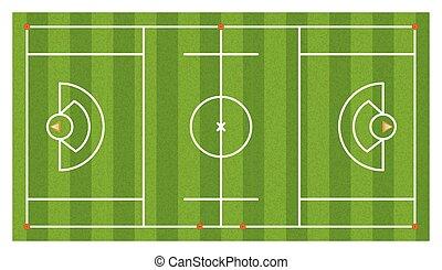 aéreo, lacrosse, campo, ilustración