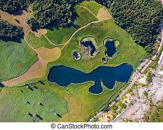 """aéreo, lagos, knin, jezera"""", vista, llamado, """"sarena,..."""