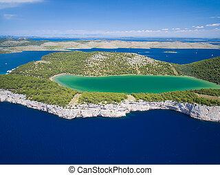 aéreo, naturaleza, parque, lago, slano, telascica, croacia,...