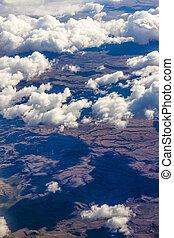 aéreo, nuvens, acima, vista