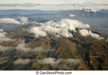 aéreo, oriental, cordillera, ecuatoriano, andes, vista