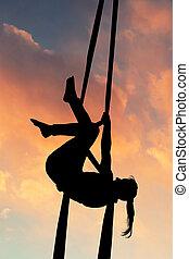 aéreo, pôr do sol, acrobático