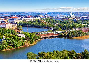 aéreo, panorama, de, helsínquia, finland