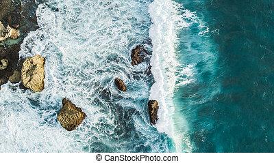 aéreo, pedras, zangão, ondas, vista, bata