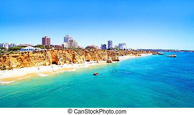 aéreo, portugal, da, praia, algarve, rocha