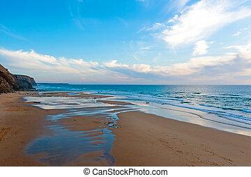 aéreo, portugal, valle, praia, figueiras, ocaso
