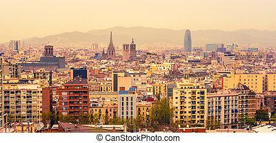 aéreo, punta la vista, de, barcelona, cataluña, españa