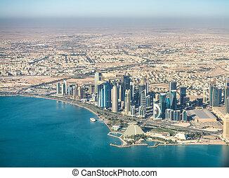 aéreo, qatar, contorno, doha