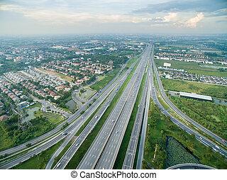 aéreo, rodovia, vista