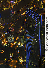 aéreo, shanghai, escena, china, noche, vista