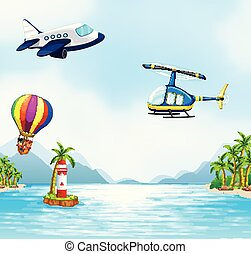 aéreo, sobre, transporte, oceânicos