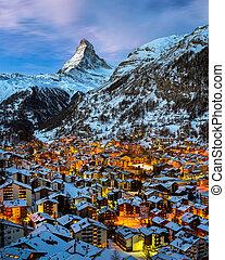 aéreo, switz, alvorada, pico, zermatt, vale, matterhorn,...