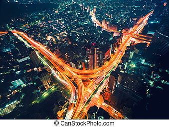aéreo, tokio, masivo, intersección, carretera, vista