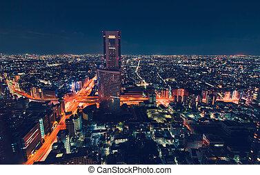 aéreo, tokio, noche, cityscape, japón, vista